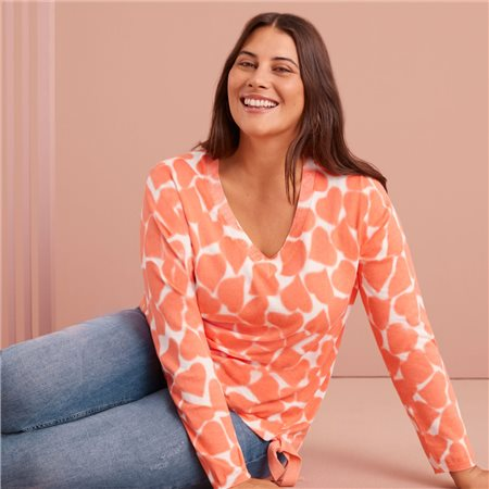 Samoon Heart Print Jumper With Tie Hem Coral  - Click to view a larger image