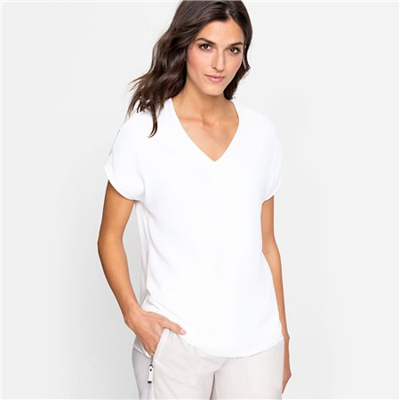 Olsen V Neck Silky Front Top Off White 1