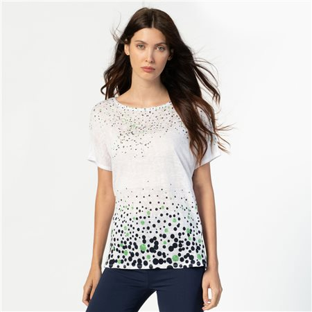 Marble Scattered Spot Print Top White 1