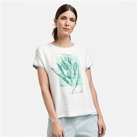 Gerry Weber Leaf Print Top Off White 1
