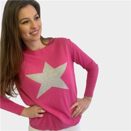 Luella Cotton Star Jumper Pink 1