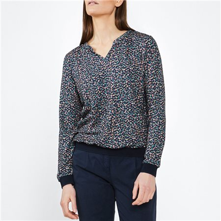 Sandwich Print Top With Ribbed Hem Navy 1