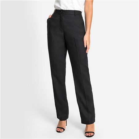 Olsen Mona Straight Linen Trouser Black 1