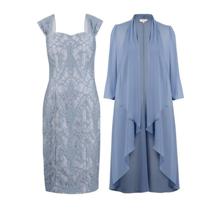 Cabotine Lace Dress And Wrap Pastel Blue  - Click to view a larger image