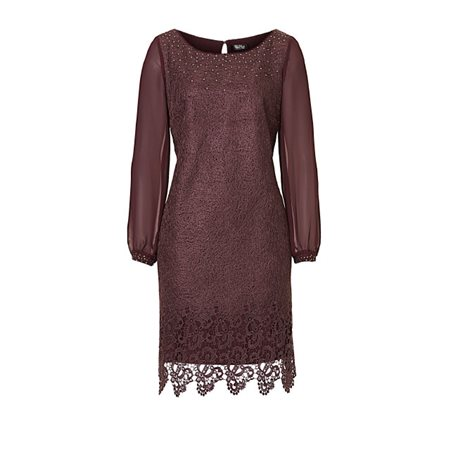 Vera Mont Lace Dress With Chiffon Sleeves Grape  - Click to view a larger image