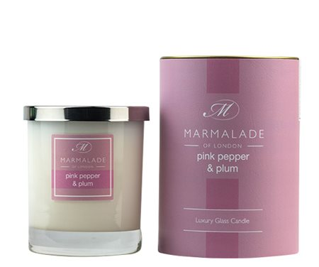 Marmalade Of London Pink Pepper & Plum Large Glass Candle  - Click to view a larger image