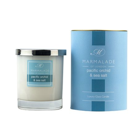 Marmalade Of London Pacific Orchid & Sea Salt Large Glass Candle  - Click to view a larger image