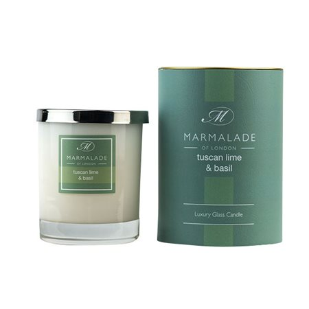 Marmalade Of London Tuscan Lime & Basil Large Glass Candle  - Click to view a larger image
