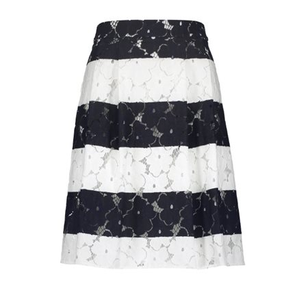 Taifun Striped Pleated Skirt Navy  - Click to view a larger image