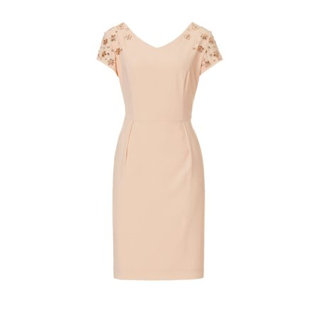 Vera Mont Jewelled Dress With Pockets Pink  - Click to view a larger image