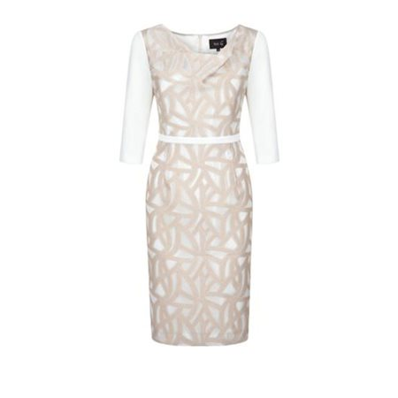 Fee G Patterned Shift Dress Ivory And Gold  - Click to view a larger image
