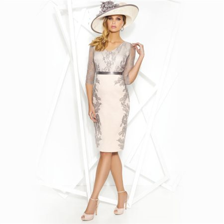 Cabotine Lace Overlay Dress With Lace Shawl Silver  - Click to view a larger image