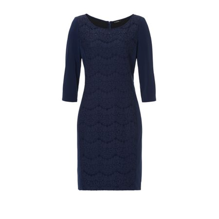 Vera Mont Sequin And Lace Dress Sapphire  - Click to view a larger image