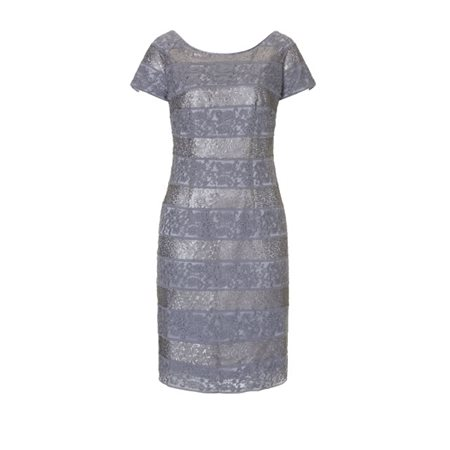Vera Mont Lace Layered Dress Pewter  - Click to view a larger image
