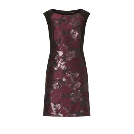 Vera Mont Floral Print Panel Dress Grape  - Click to view a larger image