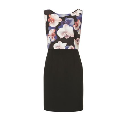 Vera Mont Floral Bodice Dress Black  - Click to view a larger image