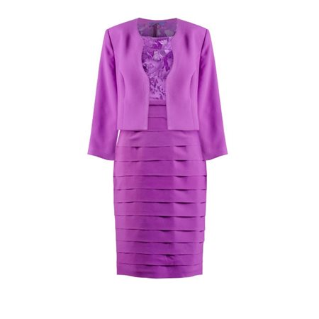 Zeila Frilled Dress With Mini Jacket Purple  - Click to view a larger image