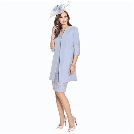 Cabotine Jacquard And Lace Dress With Jacket Cornflower Blue  - Click to view a larger image