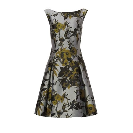 Vera Mont Floral Skater Dress Pewter  - Click to view a larger image