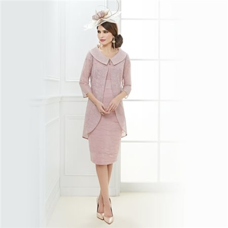 Zeila Ruched Dress With Floral Embroidered Jacket Rose  - Click to view a larger image