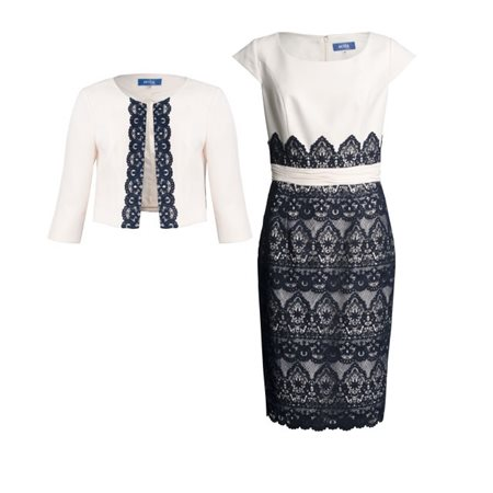 Zeila Lace Dress With Tailored Jacket Navy And Almond  - Click to view a larger image