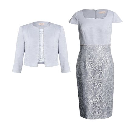 Cabotine Lace Dress With Woven Jacket Dove Grey  - Click to view a larger image