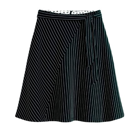 Sandwich Clothing Asymmetrical Stripe Skirt Black  - Click to view a larger image