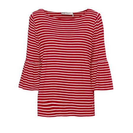 Monari Striped Bell Sleeved Top Red  - Click to view a larger image