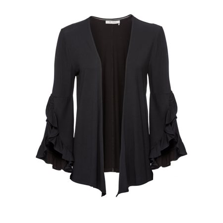 Monari Frilled Sleeved Cardigan Black  - Click to view a larger image