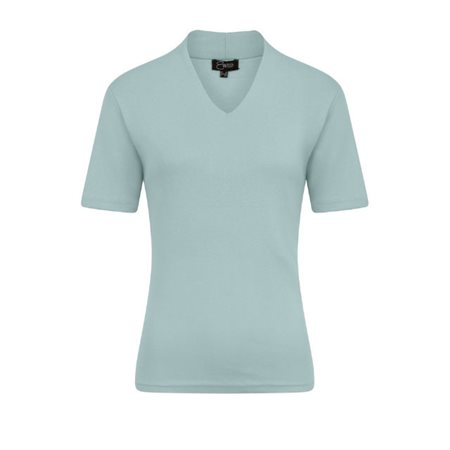 Emreco Short Sleeved High Neck Top Blue  - Click to view a larger image