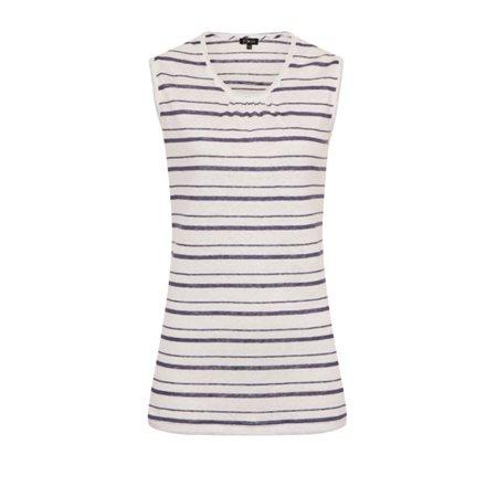 Emreco Linen Stripe Vest Top Indigo  - Click to view a larger image