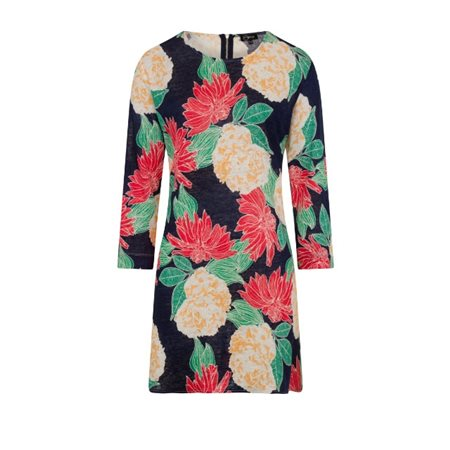 Emreco Floral Print Dress Navy  - Click to view a larger image