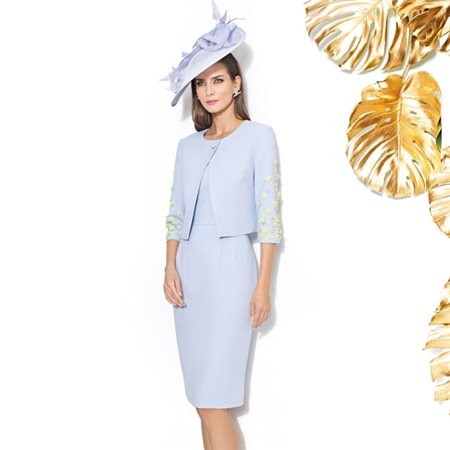 Cabotine Capped Sleeved Dress With Midi Jacket Blue  - Click to view a larger image