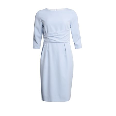 Fee G Fitted Dress With Deep Belt Blue  - Click to view a larger image