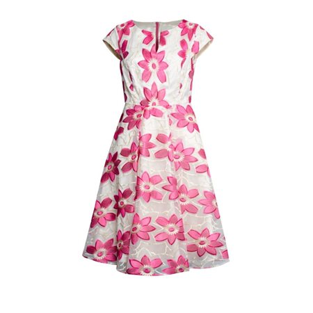 Fee G Embroidered Foral Dress Pink  - Click to view a larger image