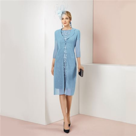 Rosa Clara Embroidered Dress With Sheer Coat Aqua  - Click to view a larger image