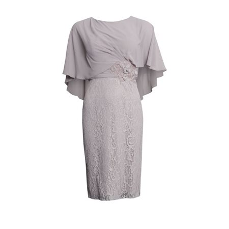Rosa Clara Lace Dress With Cape Overlay Mauve  - Click to view a larger image