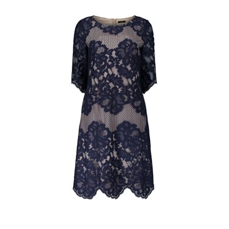 Vera Mont Lace Dress Nude And Navy  - Click to view a larger image