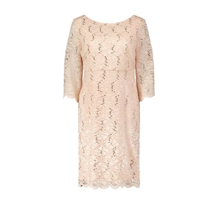 Vera Mont Fitted Lace Dress Peach  - Click to view a larger image