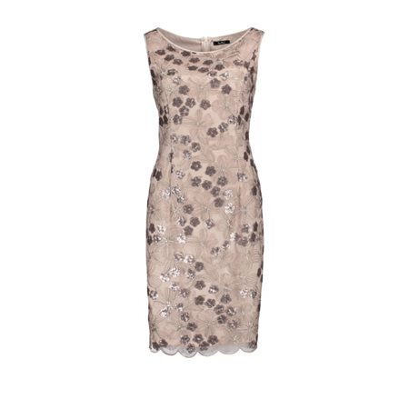 Vera Mont Embroidered Dress Pewter And Blush  - Click to view a larger image