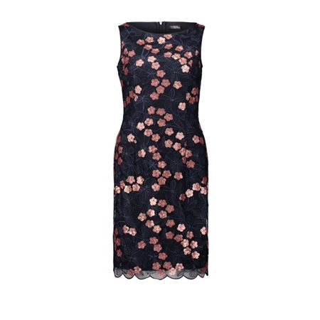 Vera Mont Embroidered Dress Bronze And Navy  - Click to view a larger image