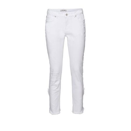 Monari Distressed Cropped Jeans White  - Click to view a larger image