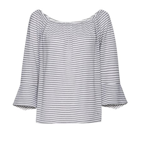Monari Striped Bell Sleeve Top Grey  - Click to view a larger image