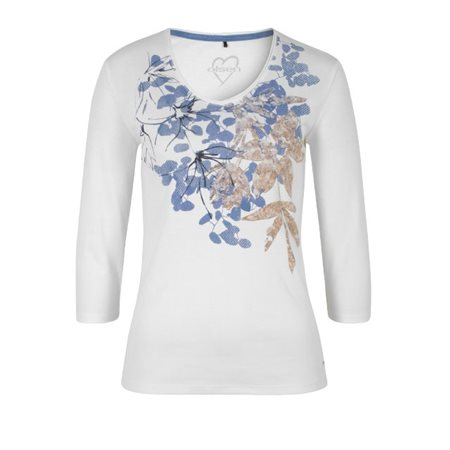 eeffe4838f82a5 Olsen Printed Top Off White - Click to view a larger image
