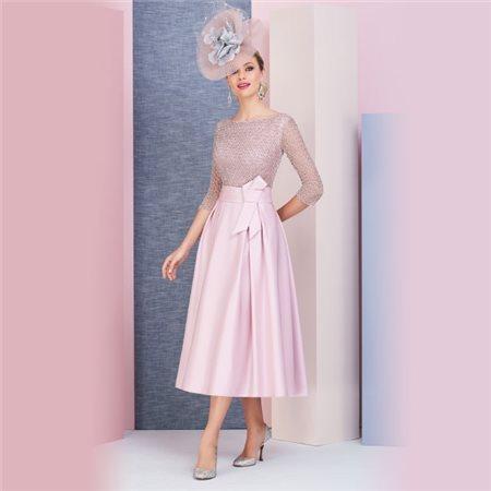 Ronald Joyce Veni Infantino Beaded Dress Blush  - Click to view a larger image