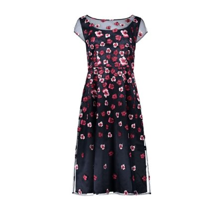 Vera Mont Embroidered Flower Dress Navy  - Click to view a larger image