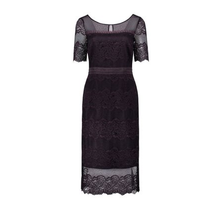 Vera Mont Fitted Lace Dress Aubergine  - Click to view a larger image