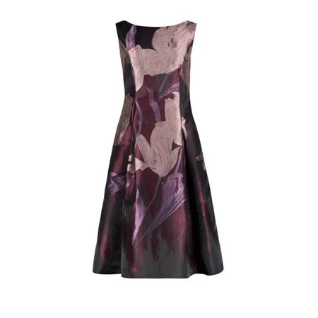 Vera Mont Floral Swing Dress Aubergine  - Click to view a larger image
