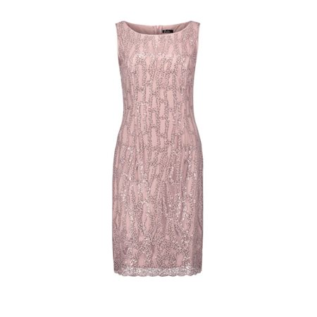 Vera Mont Sequin Overlay Dress Blush  - Click to view a larger image