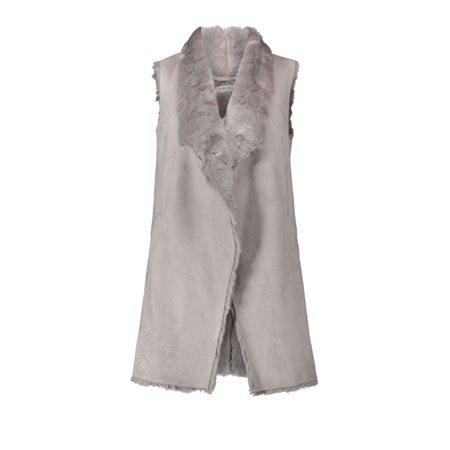 Betty Barclay Faux Fur Gilet Grey  - Click to view a larger image